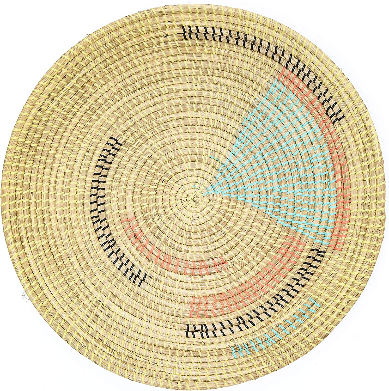 """Artera Wicker Wall Basket Decor - Hanging Woven Seagrass Flat Baskets, Round Boho Wall Basket Decor for Living Room or Bedroom, Unique Wall Art. (22"""" Round, 22"""" Round - Style 1)"""