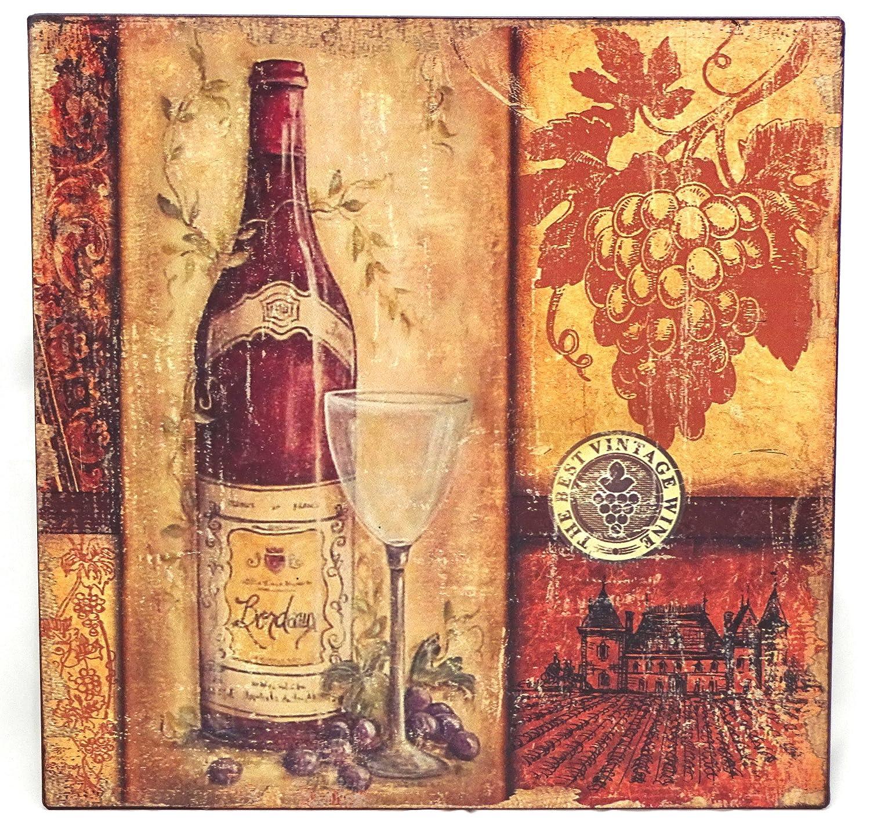 Diseño de vino Metallschild/botella con el vidrio y uvas: Amazon ...