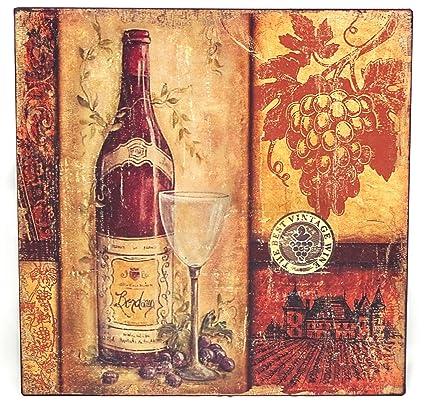 Diseño de vino Metallschild/botella con el vidrio y uvas