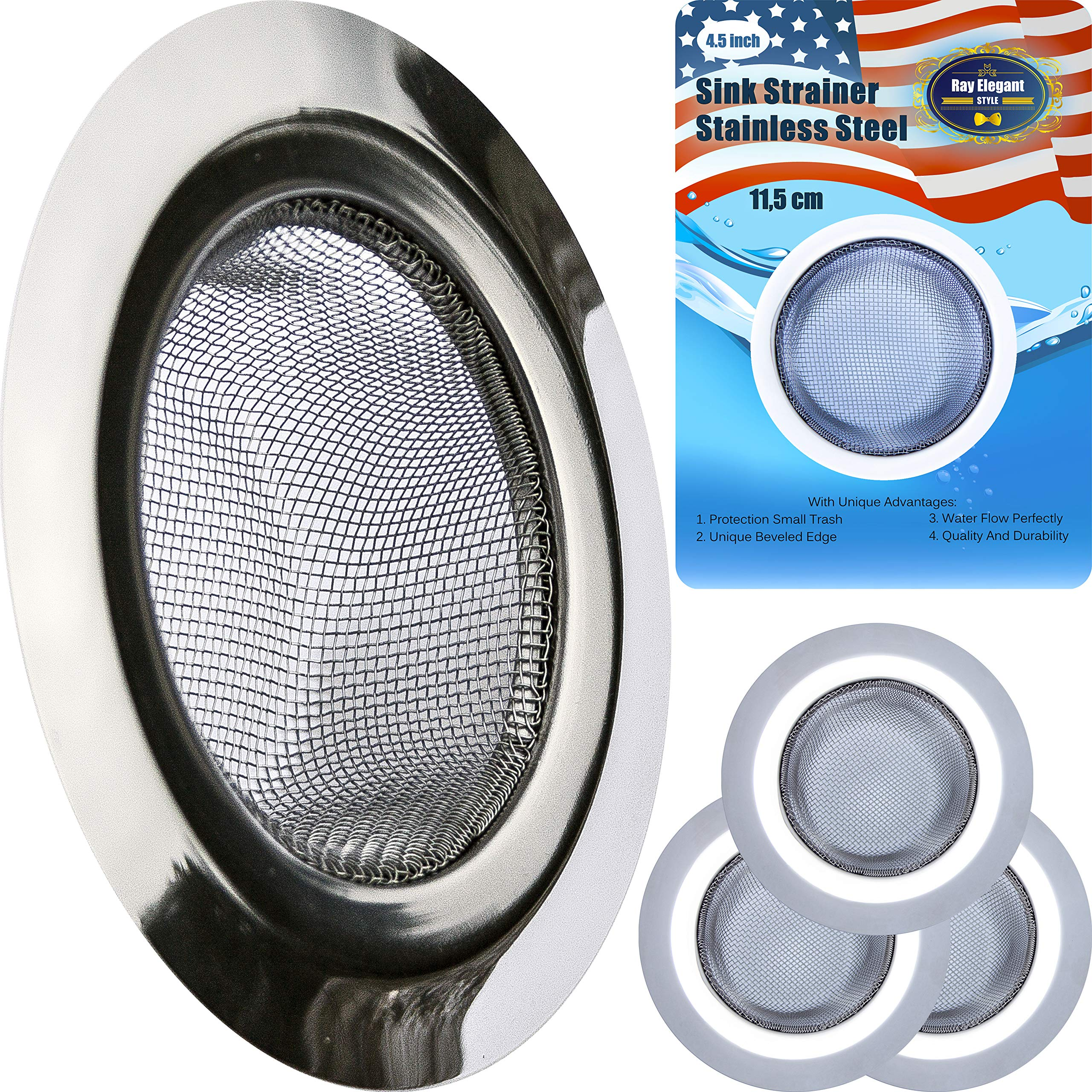 3PCS Kitchen Sink Strainer Stainless Steel - Mesh Sink Drain Strainer with Large Wide Rim 4.5'' by RE-Style