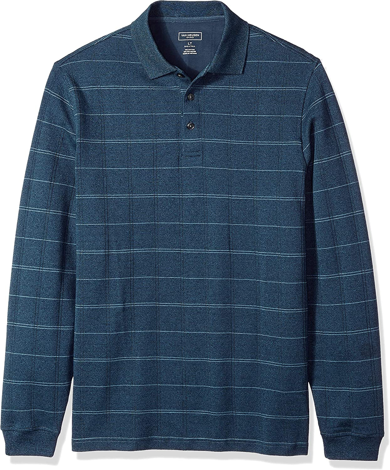Van Heusen Men's Big and Tall Flex Long Sleeve Windowpane Polo (Discontinued by)
