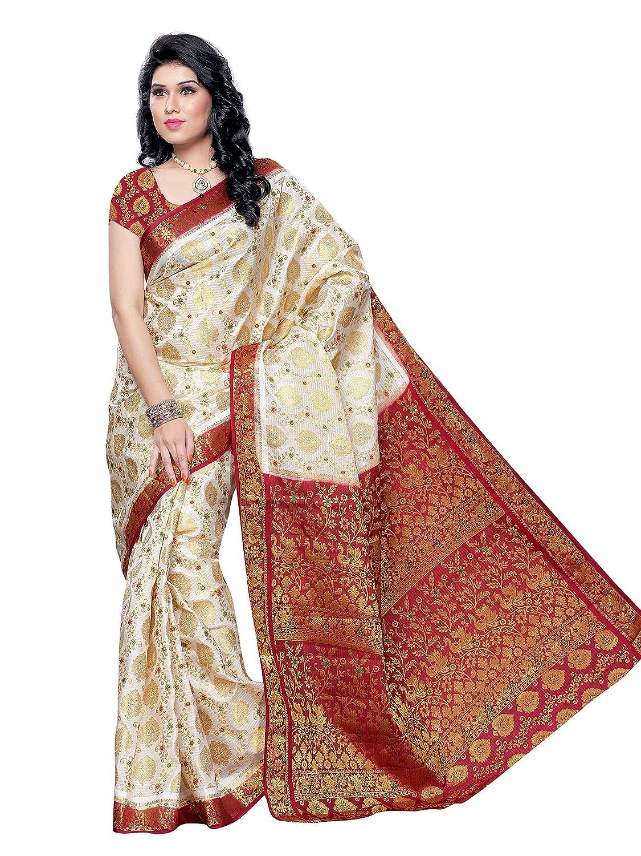 Best Off White Kanchipuram Silk Saree With Blouse Piece Collection
