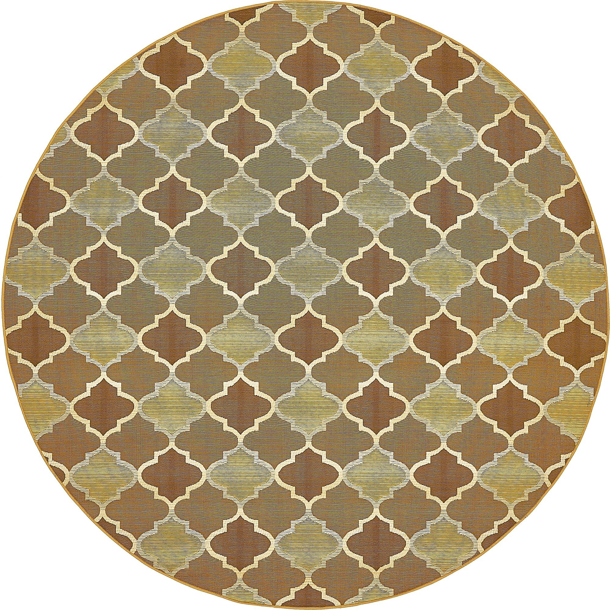 Unique Loom Eden Outdoor Collection Gold 8 ft Round Area Rug (8' x 8')