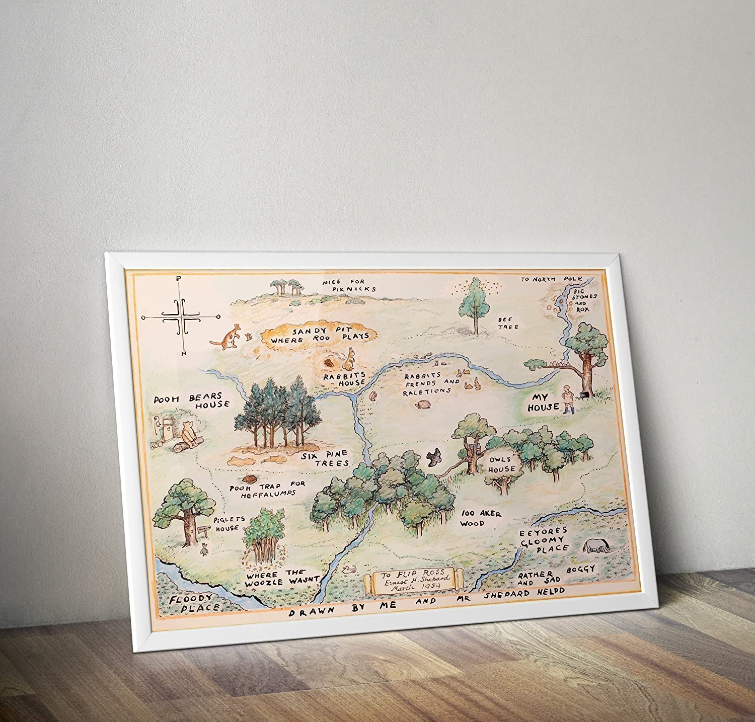 Winnie the Pooh Poster - Christopher robin Print - 100 Acker Wood Map - Alternative TV/Movie Prints in Various Sizes(Frame Not Included)