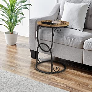 FirsTime & Co. Natural Jace Inlay Round C Side Table, Wood, 18 x 18 x 26.75 inches