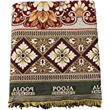 Mandhania Solapuri Chaddar/Blanket (Pooja) 100% Cotton - 1 Dailyuse Double Blanket - Brown and Red