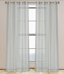 "LJ Home Fashions Adele Semi Sheer Geometric Linen Look Grommet Curtain Set, 52"" x 95"", Grey"