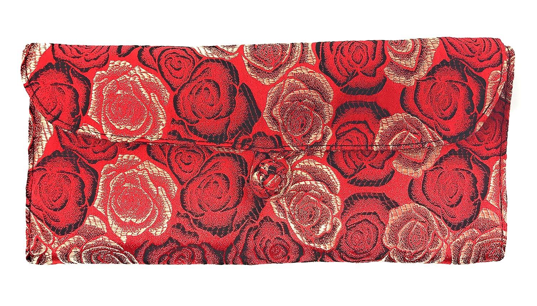 HiyaHiya Circular Knitting Needle Case Red Roses 27 Pockets Brocade /& Cotton