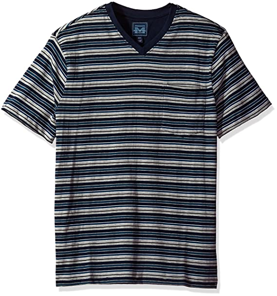 15f5ddfba0d539 Majestic International Men s Mariner Stripe Knit Jersey Short Sleeve High V- Neck Top