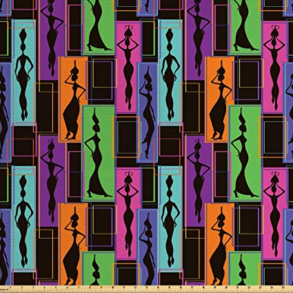 Ambesonne African Woman Fabric by The Yard, Colorful Abstract Geometric  Pattern Frames with Women Carrying Vases on Heads, Decorative Fabric for