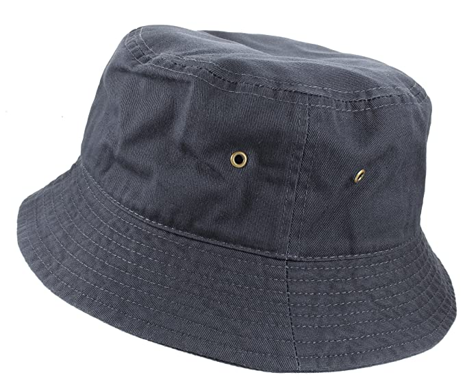 Gelante 100% Cotton Packable Fishing Hunting Sunmmer Travel Bucket Cap Hat  1900-Charcoal- 98c971d28f05
