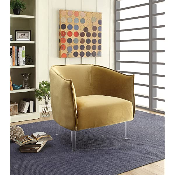 HOMES: Inside + Out IDF-AC6348YW Krueger Accent Chair, Yellow