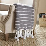 Amazon Brand – Stone & Beam Modern Striped Knit Tassel Throw Blanket - 80 x 60 Inch, Grey