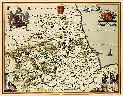 Full Map Of England.Amazon Com Old Great Britain Map Durham England Blaeu 1645