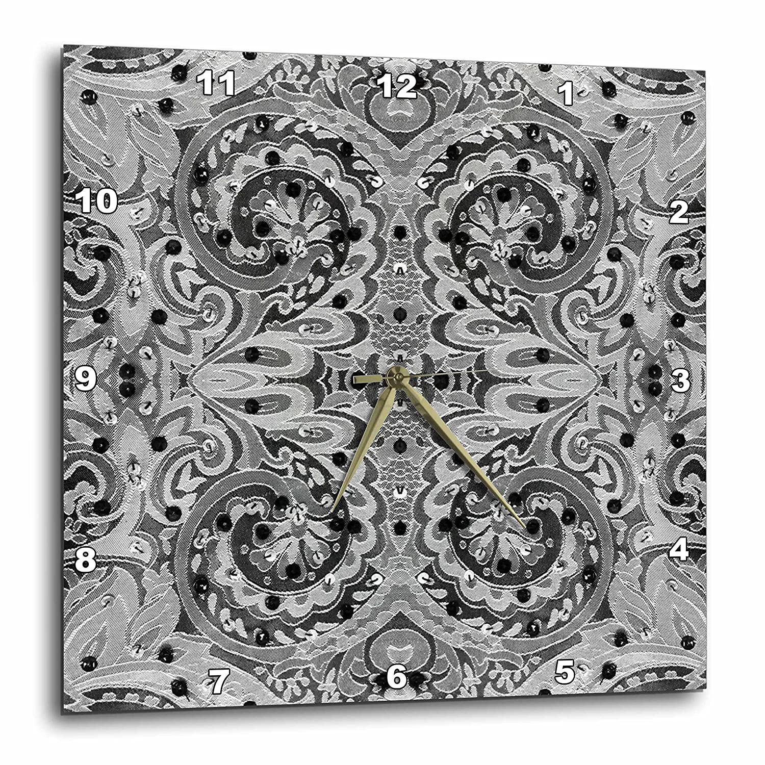 3dRose Florene Black and White 15x15 Wall Clock Black and White Tapestry dpp/_33307/_3
