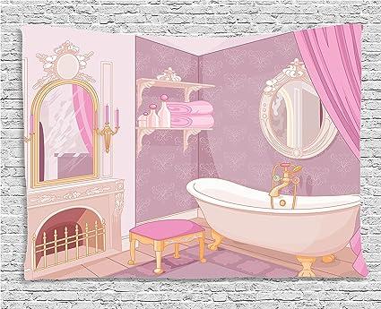 Amazon.com: Ambesonne Teen Girls Decor Collection, Fancy Bathroom In ...