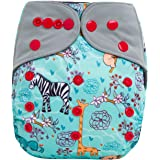 "HappyEndings ""Night, Night""» Charcoal Bamboo All In One Diaper (+Pocket & 5 Layer Charcoal Bamboo Insert) ""Jungle"""