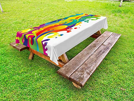 Amazoncom Ambesonne Psychedelic Outdoor Tablecloth Digital Made - Picnic table paint colors