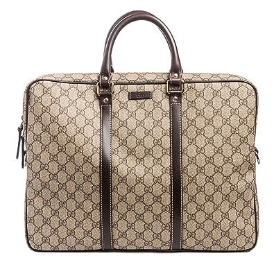ac298c4d5eb Amazon.com  Gucci Flight bag Supreme GG Canvas Beige Ebony Brown Messenger  Bag New  Shoes
