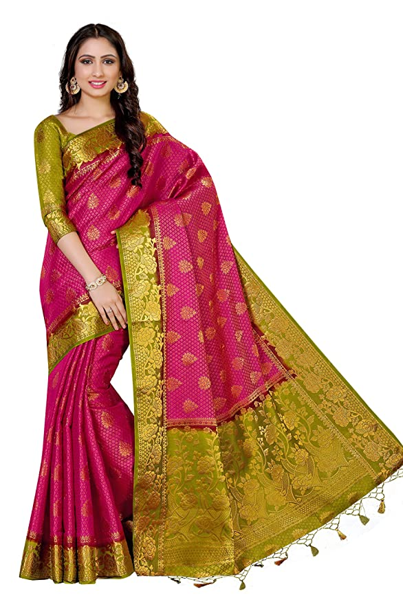e2156a8fd66b67 Mimosa Women s Art Silk Saree With Blouse Piece (4011-213-2D-Rni-Olv ...