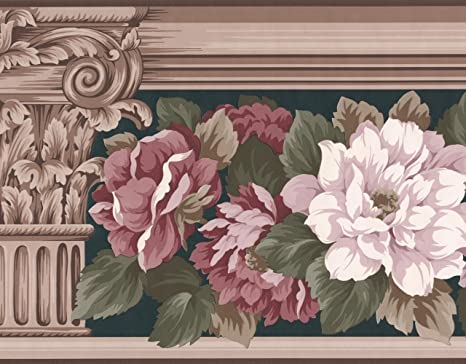 Weiß Rosa Rosen Blumenmuster Tapete Bordüre Retro Design, Rolle 15 \'x 22,2  cm