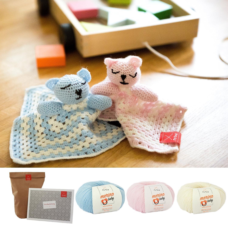 Myoma Häkelset Für Babys Schnuffeltuch Mit Teddy Kopf In Babyblau
