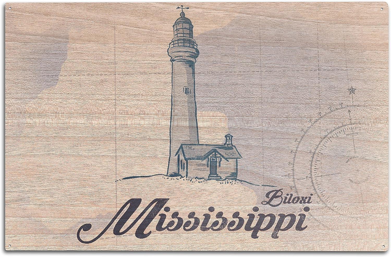 Amazon Com Lantern Press Biloxi Mississippi Lighthouse Blue