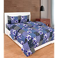 Dynamic Homes Cotton 144 TC Bedsheet (Blue_King)