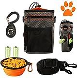 COM4SPORT Dog Treat Pouch with Built-in Waste Bag Dispenser, Adjustable Waist Belt and Over Shoulder Strap, Collapsible…