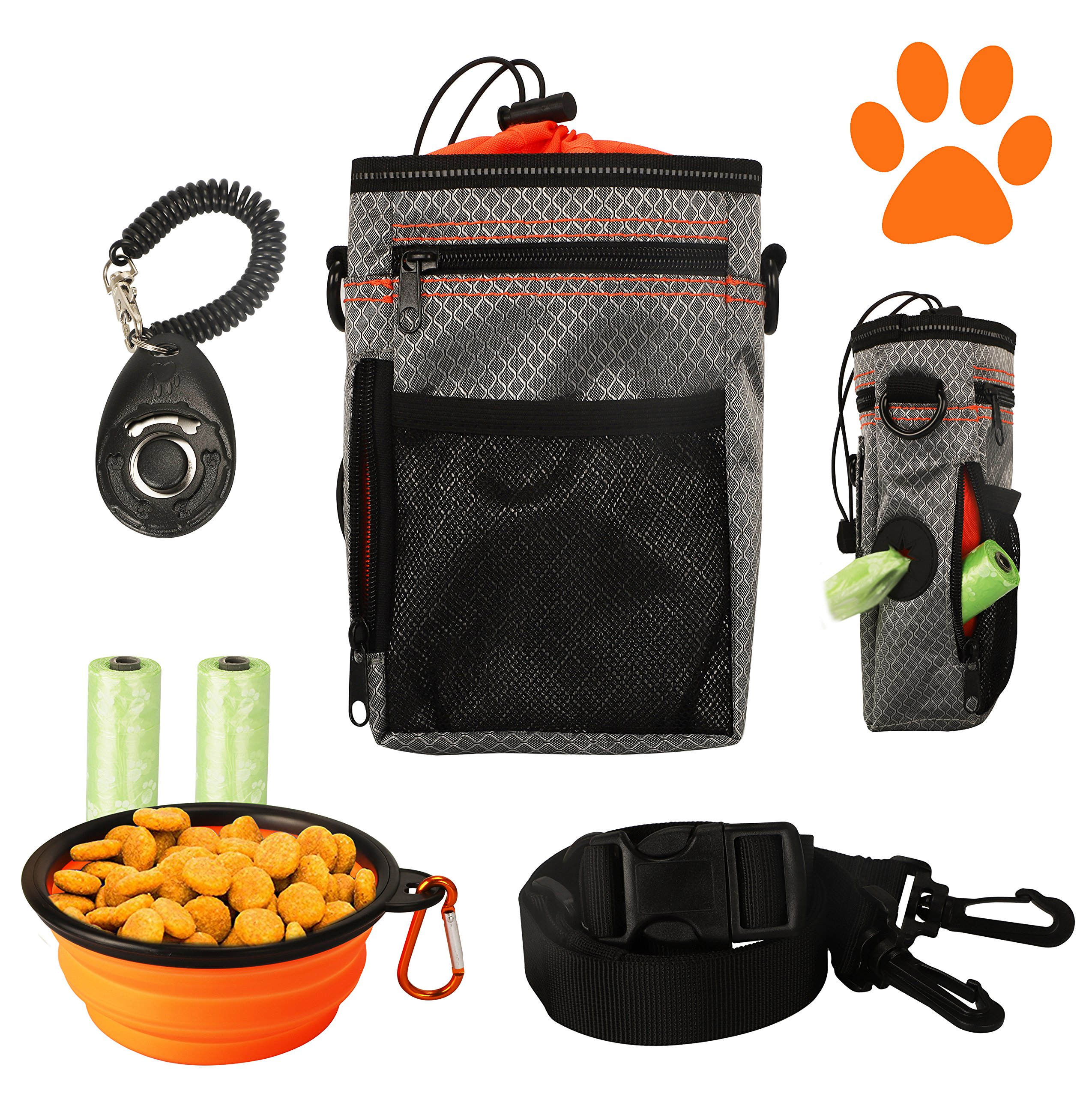 COM4SPORT Dog Treat Pouch with Built-in Waste Bag Dispenser, Adjustable Waist Belt and Over Shoulder Strap, Bonus Free Collapsible Drinking Bowl, Dog Training Clicker and Poop Bags