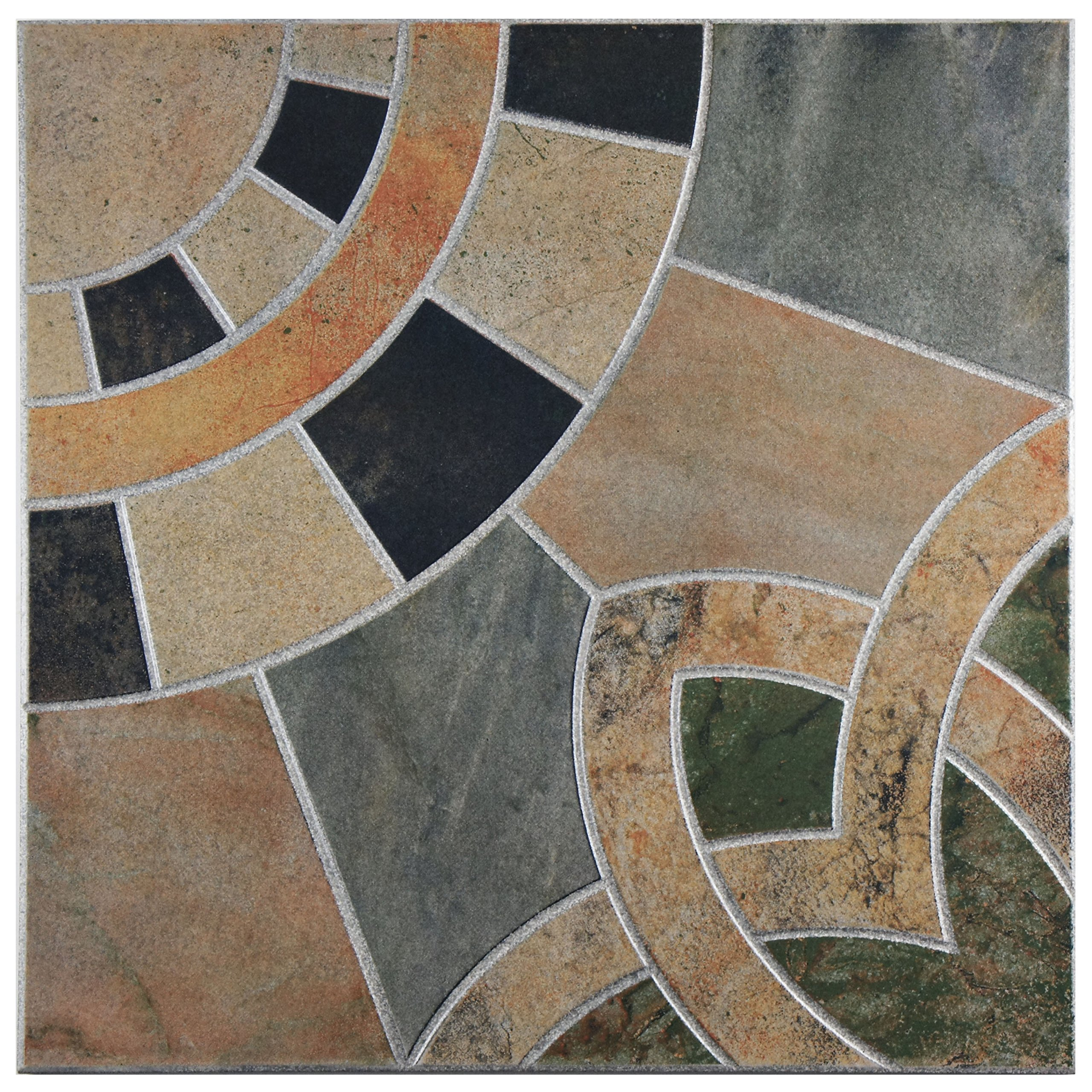 SomerTile Grey/Orange/Black/Beige/Green FEM18CTA Marta Ceramic Floor and Wall Tile, 17.75'' x 17.75'', Azul