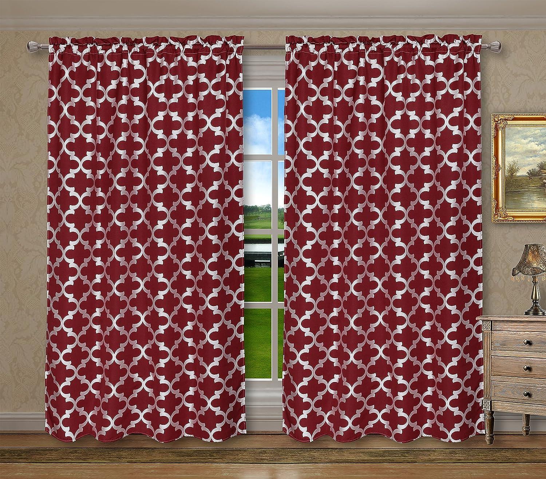 CaliTime Rod Pocket Window Curtains Panels for Bedroom Burgundy