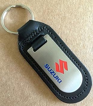 Llavero de cuero auténtico con emblema de Suzuki.: Amazon.es ...