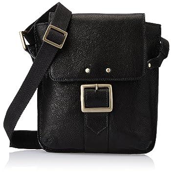 2d5885394a27 Hidesign Vespucci 01-Black Leather Cross Body  Amazon.in  Bags ...