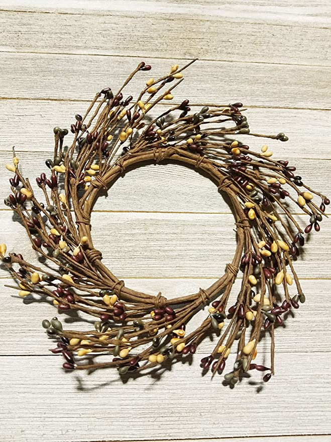 Black /& Golden Brown Mini Wreath Or Candle Ring Country Primitive Floral D/écor Perfect Candle Ring For 4 Pillars Wreath is 8