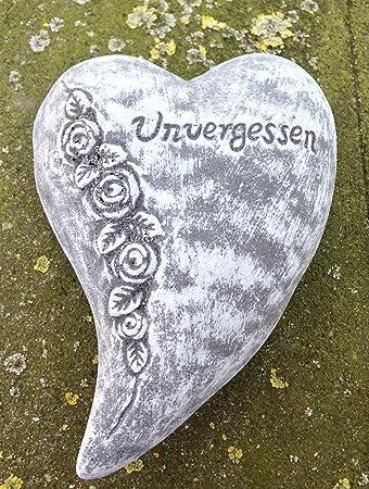 """Grabschmuck  großes Herz /""""Unvergessen/""""    Frostfest Steinguss Herz"""