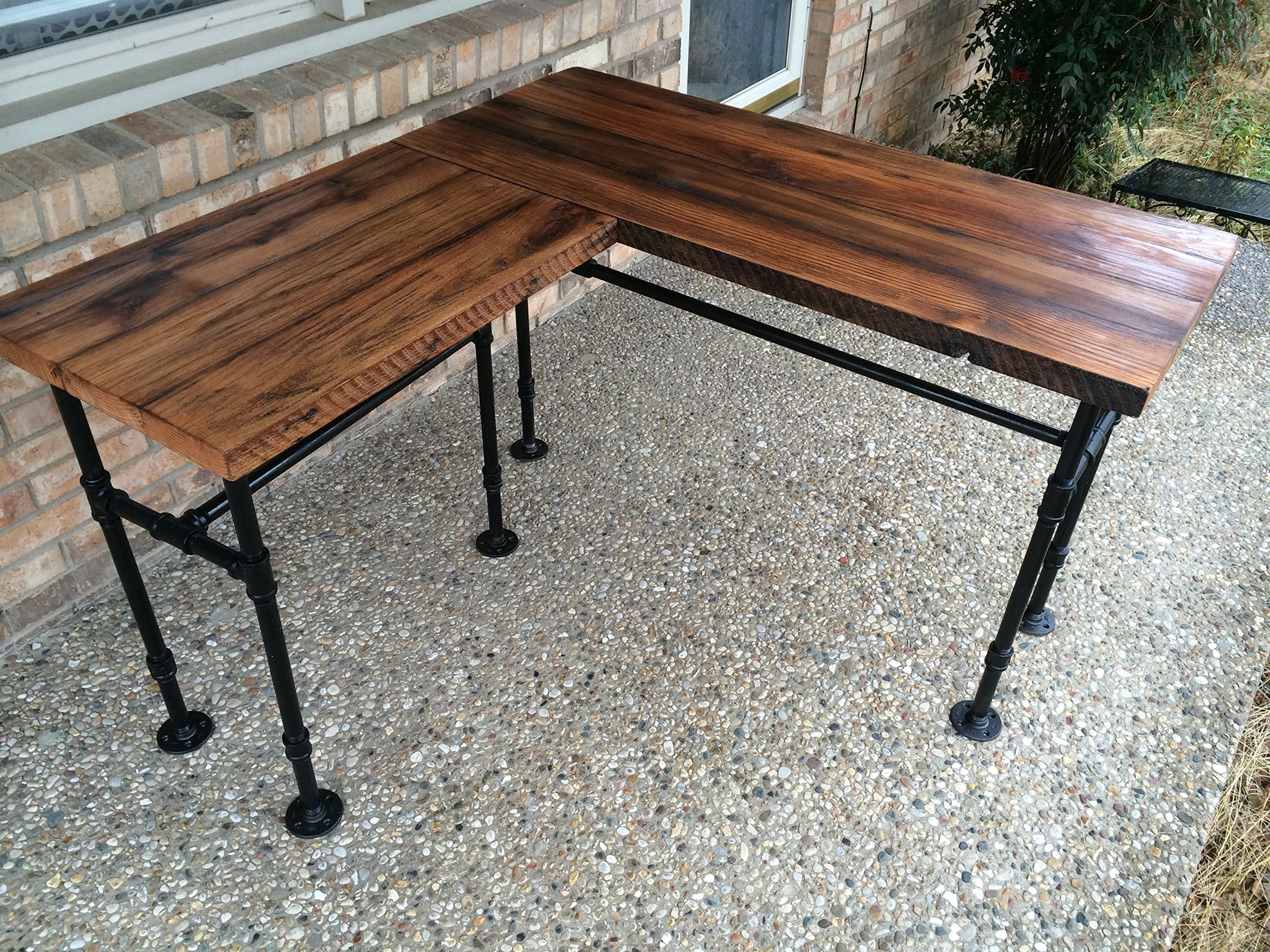 Galleon rustic reclaimed barn wood l desk table solid for Rustic pipe table