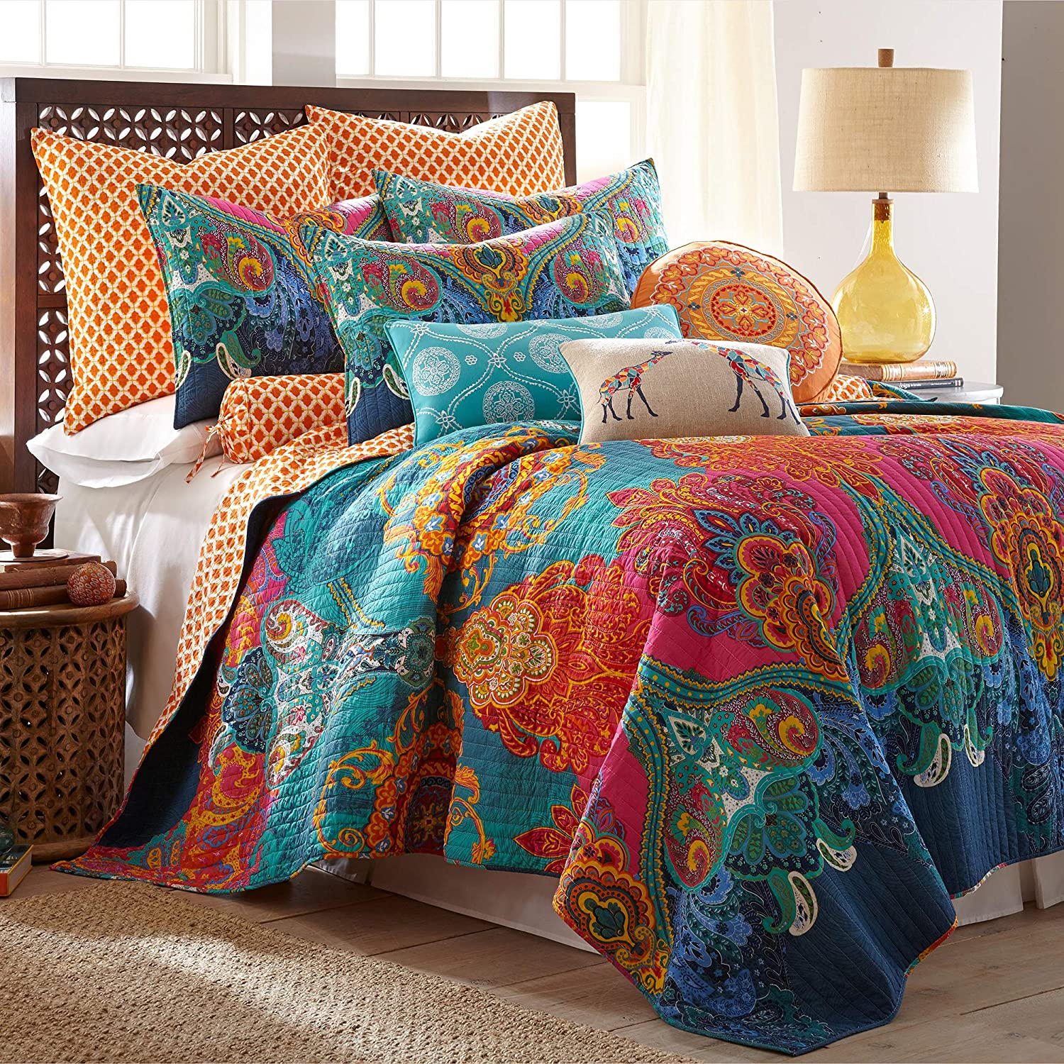 Levtex Home - Mackenzie Quilt Set - King Quilt (106x92in.) + Two Pillow Shams (26x20in.) - Bohemian - Teal, Orange, Yellow, Green, Blue - Reversible - Cotton Fabric