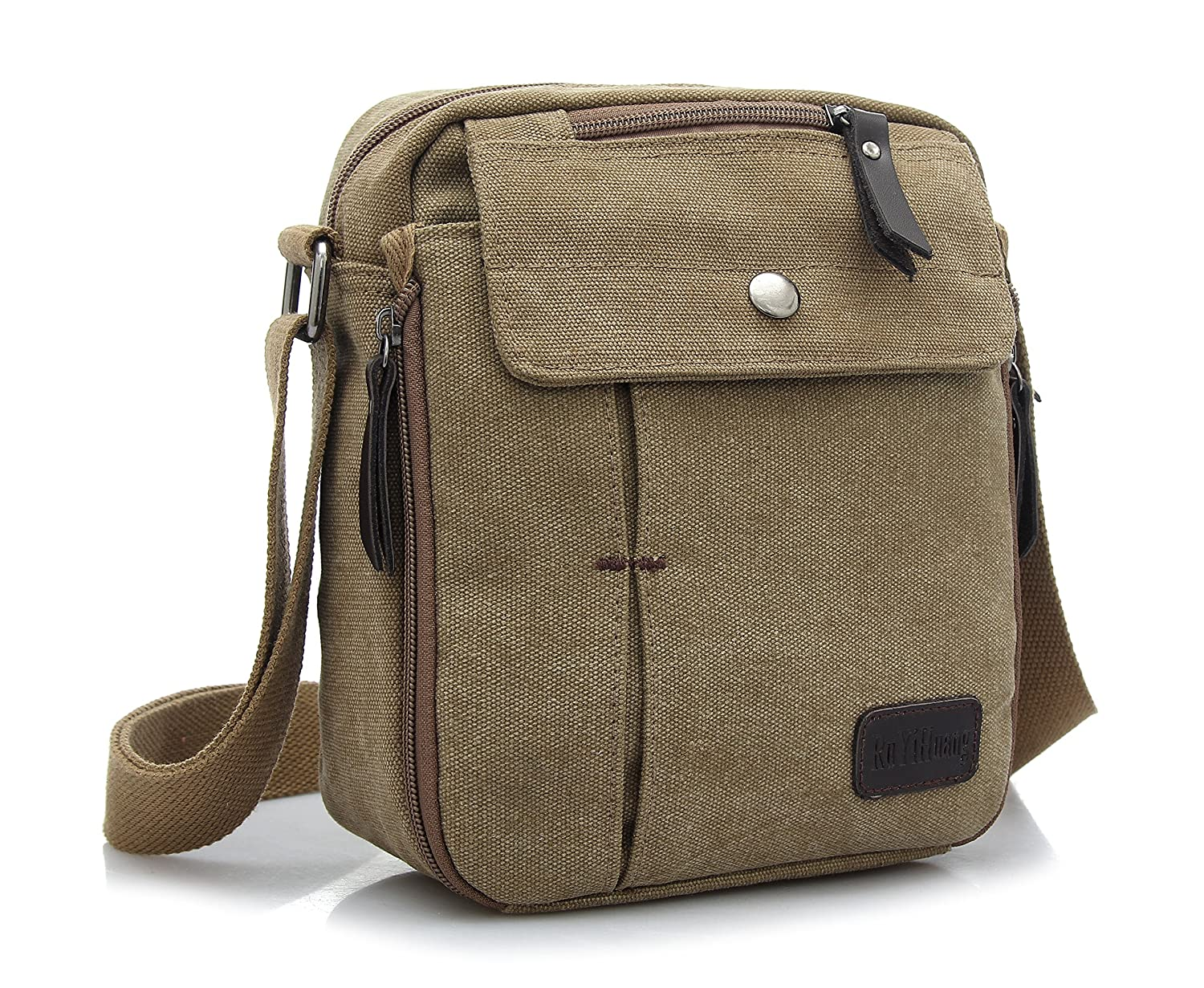 JULED Mens Small Vintage Shoulder Bag Canvas Sports Zipped Messenger Bag Durable Multi-pocket Sling Satchel bag