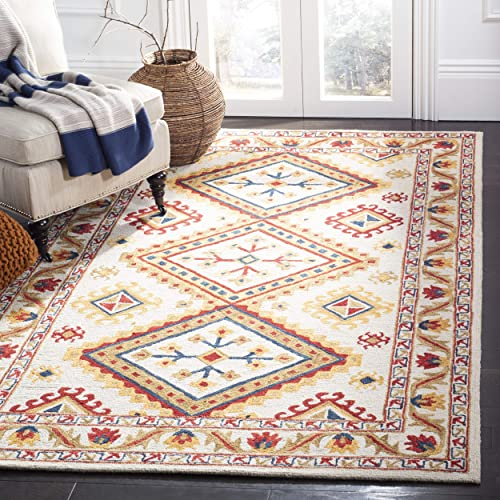 Safavieh Aspen Collection APN706A Ivory and Multi Premium Wool Area Rug 3' x 5'