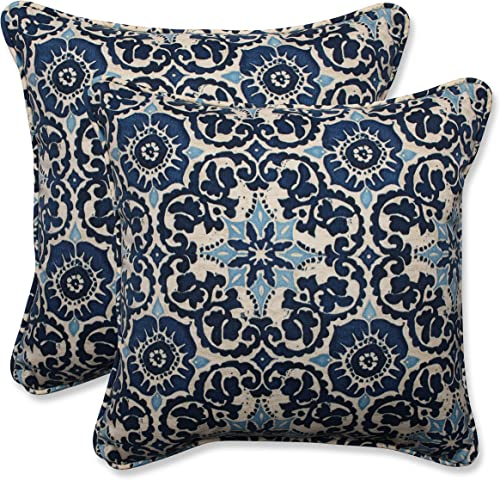 Pillow Perfect Outdoor Indoor Throw Pillows, 18.5 x 18.5 , Woodblock Prism Blue, 2 Pack
