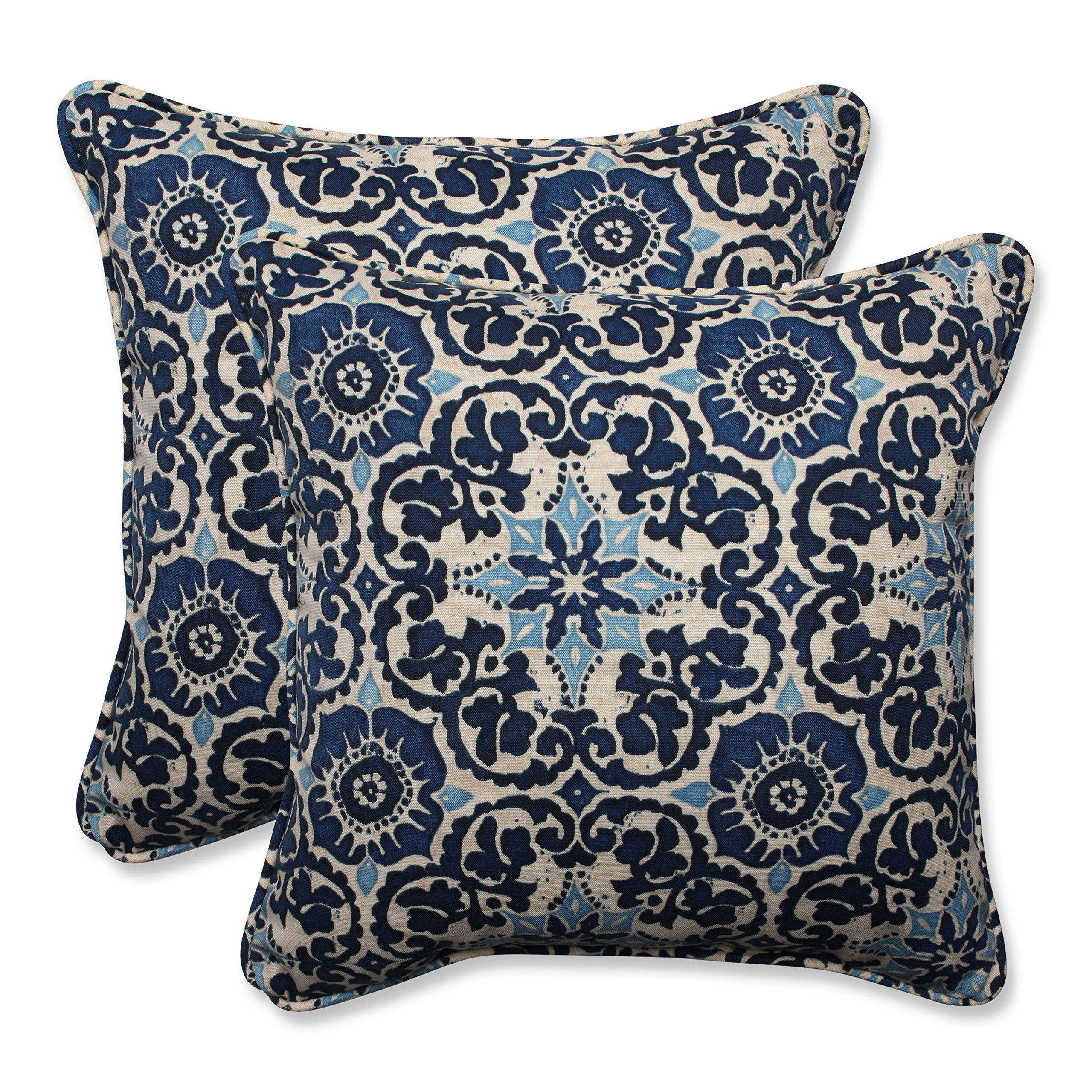 Pillow Perfect Outdoor/Indoor Woodblock Prism Throw Pillow (Set of 2), 18.5'', Blue
