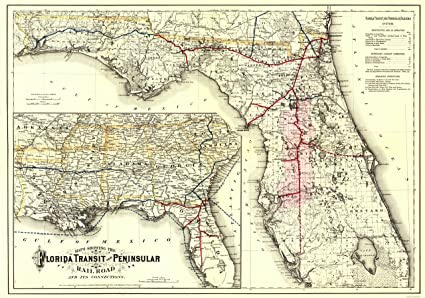 Florida Railroad Map.Amazon Com Old Railroad Map Florida Transit And Peninsula