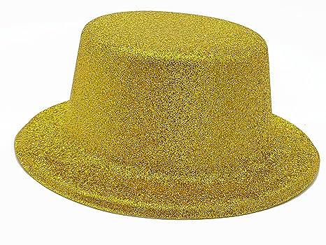 accessorio carnevale cappello cilindro tuba conte pagliaccio glitter  plastica bombetta adulto bambino glitterato oro 25255d801e46