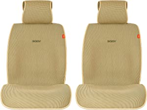 Sojoy Universal Four Season Fashionable Car Seat Cushion Cover for Front of 2 Seats Honeycomb Cloth (Tan and Cream)