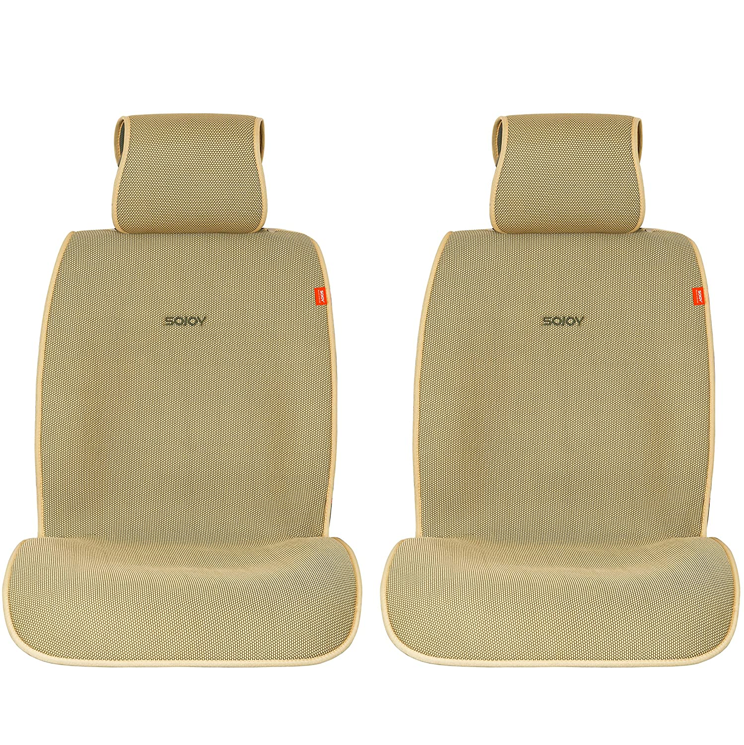 Sojoy Summer Cooling Four Seasons Car Seat Cushions for Front Two Seats Comes with 2 Pieces - Honeycomb Cloth (Cream and Tan)