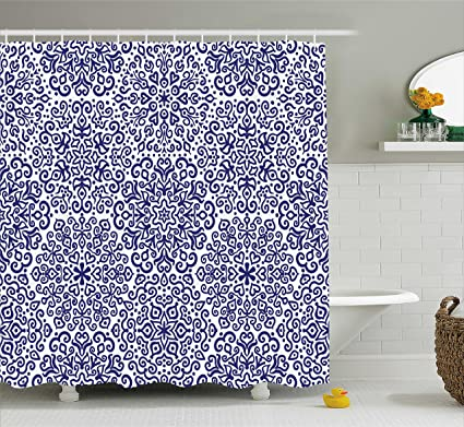 Indigo Shower Curtain By Ambesonne Mandala Pattern Little Blooms With Hearts Russian Ethnic Style
