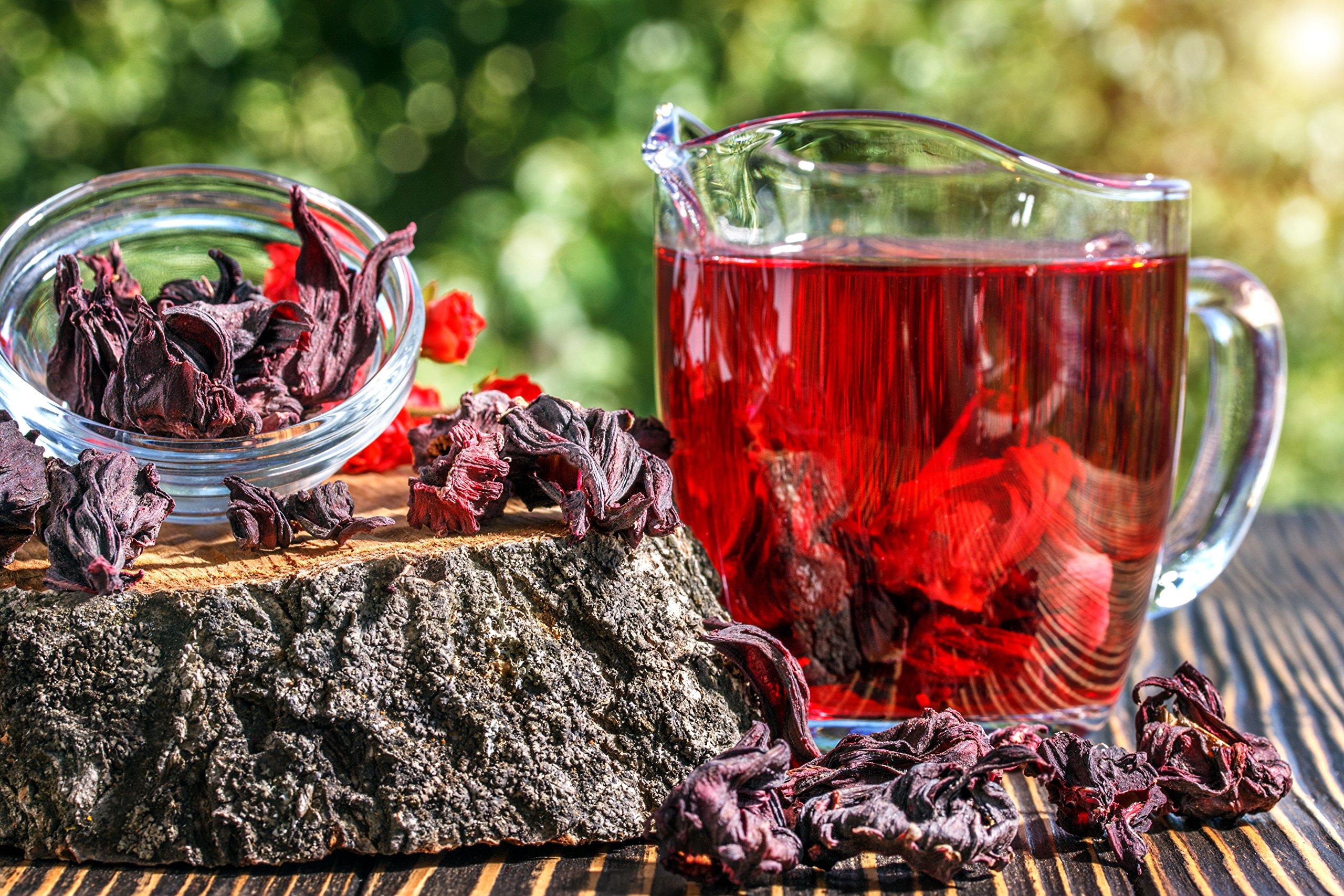 Hibiscus Tea 1LB (16Oz) 100% CERTIFIED Organic Hibiscus Flowers Herbal Tea (WHOLE PETALS), Caffeine Free in 1 lbs. Bulk Resealable Kraft BPA free Bags from U.S. Wellness by U.S. Wellness Naturals (Image #2)