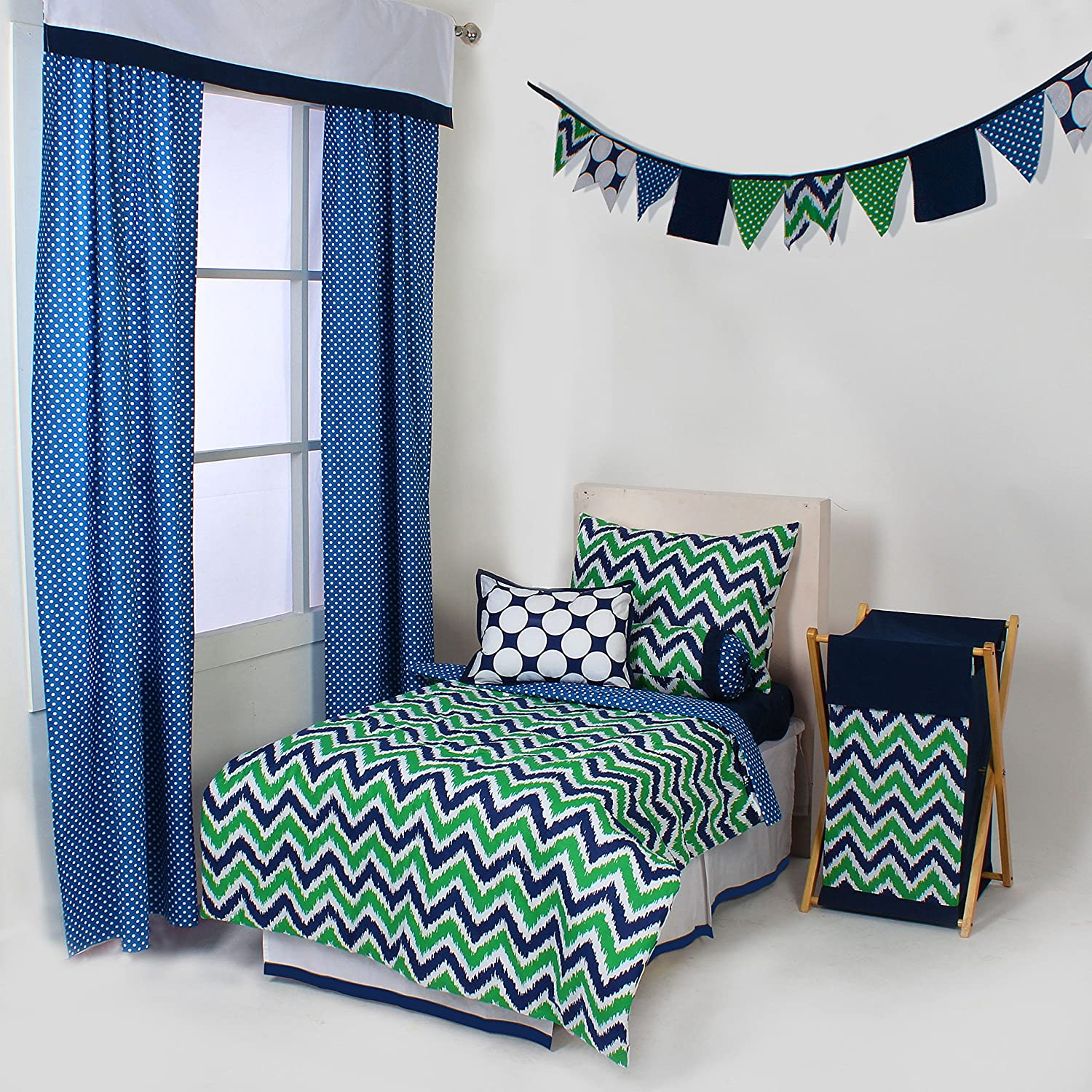 Bacati Mix and Match 4 Piece Toddler Bedding Set, Navy/Green by Bacati   B014A4D58U