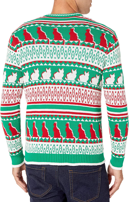Blizzard Bay mens Ornament Glasses Cat Sweater